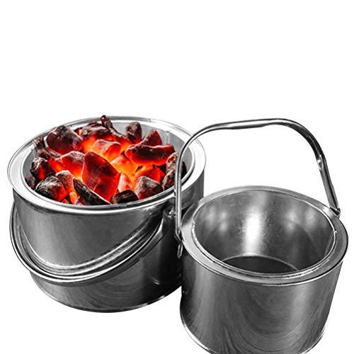 Stecto Feuerschale mit Griffen, Holzkohle-Feuerstelle Korb Edelstahl Gartengrill Feuerschale BBQ Indoor Kohleofen Home Heizung Herd Outdoor Grill