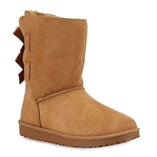 Bequeme Damen Schlupfstiefel Winter Boots Stiefel Gefüttert Schuhe 129785 Hellbraun Berkley 37 Flandell