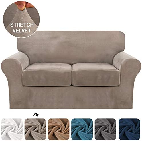 Best FantasDecor 3 Piece Sofa Cover Stretch Luxury Thick Velvet Loveseat Slipcover Cover with 2 Separate