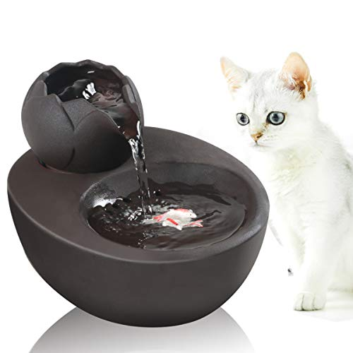 Dingqu Lotus Cat Water Fountain, Automatic Ceramic Drinking Fountain for Pets, 50.8 oz. Water Capacity (BLACK)
