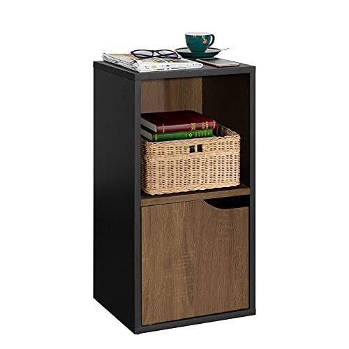FurnitureR Estantería de exhibición independiente, mesita de noche de 2 cubos con una puerta, gabinete de almacenamiento para libros, fotos, estante de almacenamiento organizador...