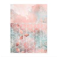 絵画 インテリア モダンピンク幾何学的抽象ダイヤモンド形キャンバスプリント絵画ポスター壁の写真リビングルームの家の装飾23.6x31.5in(60x80cm)x1pcsフレームなし