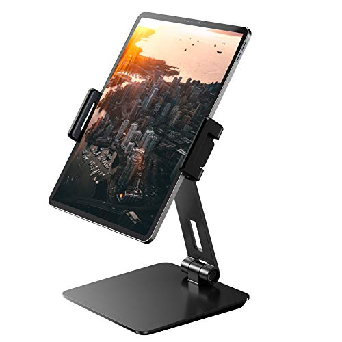Maxonar iPad Stand Adjustable-Heavy Aluminum Alloy Tablet Stand for Desk, 360° Swivel Foldable iPad Pro 12.9 Holder Mount Cradle Dock for Kitchen Bedside Office Desktop Showcase Display (4-14''), Grey