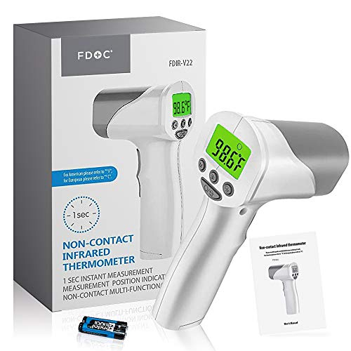 FDoc Touchless Forehead Thermometer for Adults, Baby Thermometer, Infrared Temporal IR Laser Gun to Measure Temperature or Fever in Indoor and Outdoor Environments, Instant Results, Feature Extensive