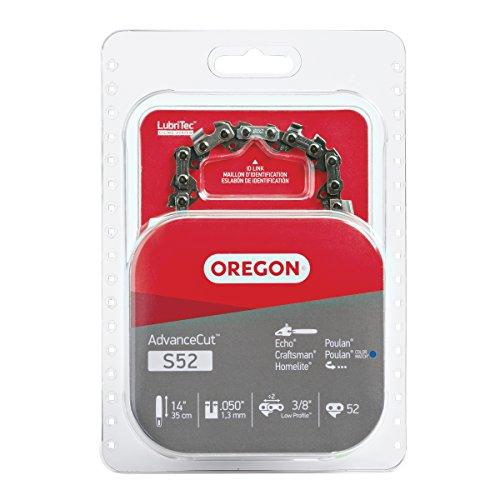 Oregon S52 AdvanceCut Chainsaw Chain for 14-Inch Bar -52 Drive Links – low-kickback chain fits Dolmar, Ryobi, Echo and more