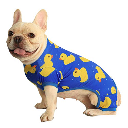 HDE Dog Pajamas Lightweight Dog PJs One Piece Jumpsuit Shirts for Dogs Cute Puppy Clothes for Small Medium Large Dogs (Ducks, Medium)