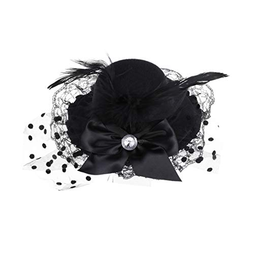 Happyyami fascinators chapeau bowknot maille plumes pince à cheveux chapeau de fête pour les petites filles noir