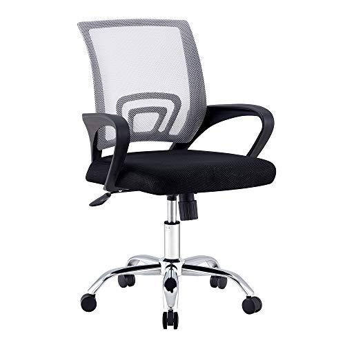 Silla de oficina, silla de escritorio ergonómica silla de ordenador silla giratoria con cojín de asiento de diseño de malla, altura del asiento, reposacabezas Capacidad máxima de carga 135 kg