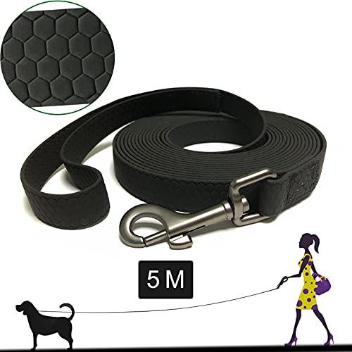 Schleppleine 5m, Robuste Hundeleine 5m, mit Aufbewahrungsbeutel, Handschlaufe und D-Karabiner, Schleppleine Hund, Hundeleine Hunde, Schleppleine für Hunde ( Schwarz )