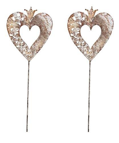 Dio dekorativer Gartenstecker Herz mit Krone rostig mit weiß Shabby Optik in 2 möglichen Größen (2 x mittel)