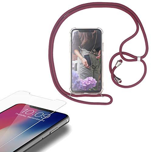 Eximmobile - Handykette kompatibel mit Motorola Moto G8 Plus in Rot + Panzerfolie Schutzhülle Handy Hülle Band Seil Schnur Hülle Umhängen Handytasche Umhängehülle Kette Kordel Silikoncase
