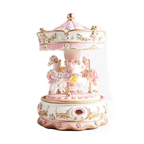 Fubarbarar - Carillon in resina con motivo carrousel in resina (rosa)