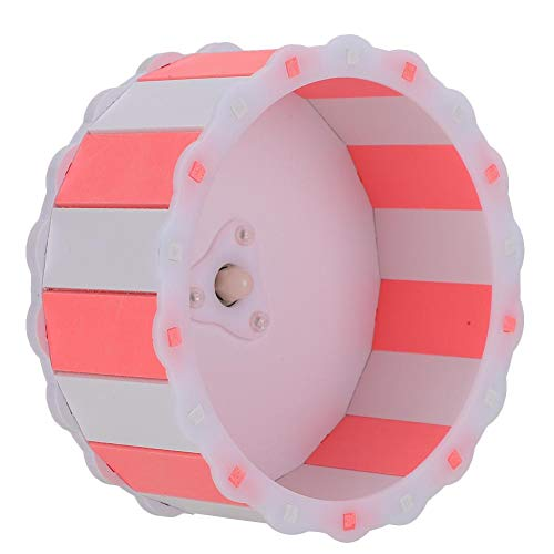 GOTOTOP 5,9 Zoll Haustier Laufrad, Holz Kunststoffplatte Hamster Meerschweinchen Buntes Laufrad Silent Roller Kleines Haustier Spielzeug Zubehör(Pink und Weiß)