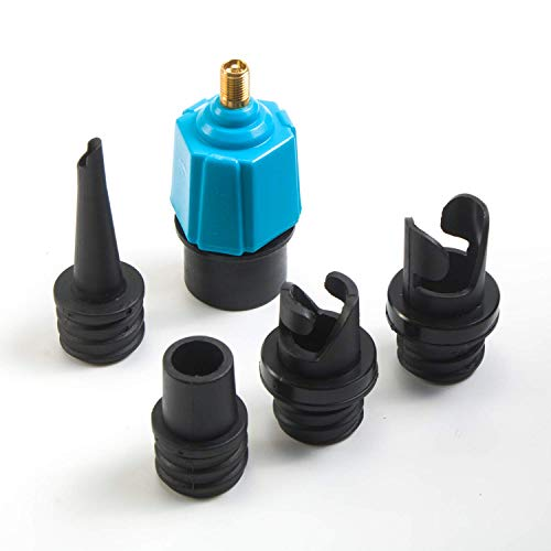 tEEZErshop Sup Ventil Adapter, Aufblasbarer Adapter/SUP Kompressor Adapter und 4 Gasdüse für Schlauchboote Stand Up Paddle Board Aufblasbarer Bett Schlauchboot Pumpe SUP Zubehör