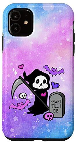 iPhone 11 Pastel Goth Grim Reaper Kawaii Bat Skull Grave Chibi Anime Case