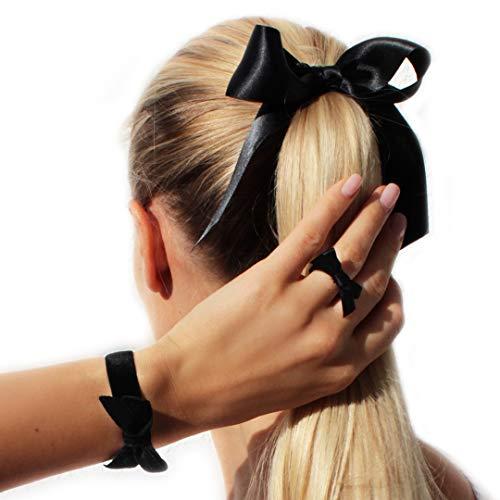 LIKERY süße Schleifen Set | Haargummi, Armband, Ring | Geschenke für Frauen Kinder Mädchen | 3-er Schmuck-Set | Farbe: Schwarz