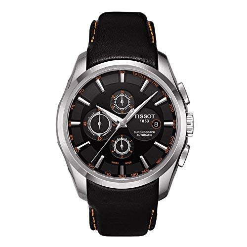 Armbanduhr Ersatzband 24mm Leder passend für Tissot T035627 T035614 Lederarmband Uhrenarmband Schwarz-Orange
