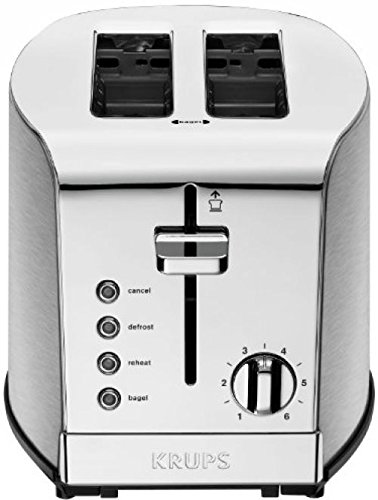 2 Slice Chrome Stainless Steel Electric Toaster with Blue LED Indicators, Toasting, Defrost, Reheat and Bagel Functions