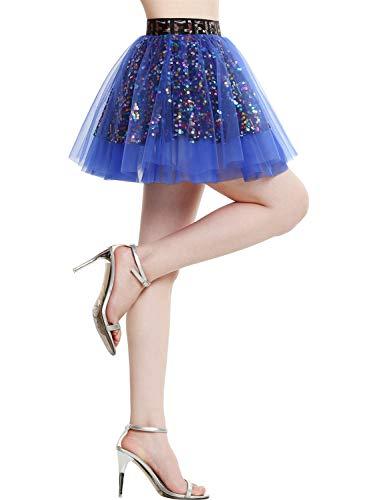 BeryLove Damen Pailletten Rock Gold Petticoat Tüllrock Mini Tanzrock Mädchen Festliche Glitzernd BLP9001 Royalblue L