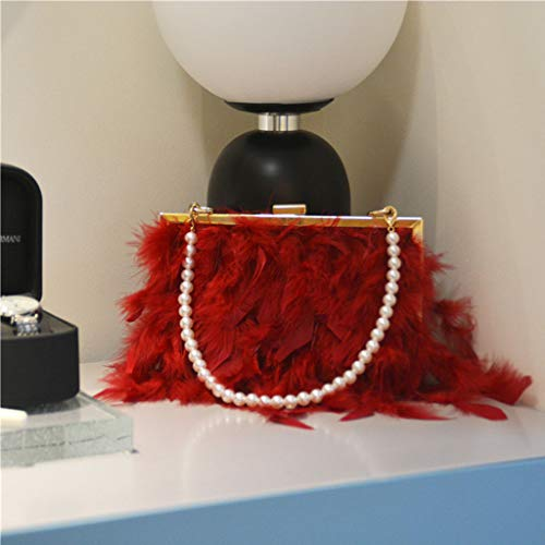 Xzbnwuviei Feder Abendtasche Handtasche, Abendtasche Mit Perle Riemen Kette Clutch Taschen Feder Umhängetasche Für Frauen Mädchen Damen