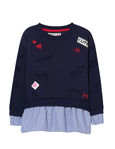Desigual Mädchen Sweat_Diderot Sweatshirt, Blau (Navy 5000), 128 (Herstellergröße: 7/8)