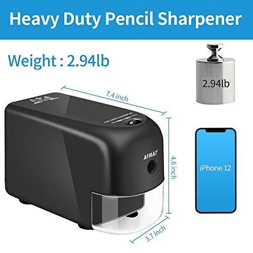 AFMAT Electric Pencil Sharpener Heavy Duty, Large Pencil Sharpener for 8-12mm No. 2/ Jumbo Pencils, Sharpen Evenly and Fast, Commercial Pencil Sharpener for Teachers, No Eating Pencils Photo #3