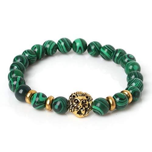 BRACELET Grünkorn Armband Mode Antik Löwenkopf Armband, Naturstein Bead Charm Armband Liebhaber, Reisen, Party, Geburtstag geben Mädchen das beste Geschenk.