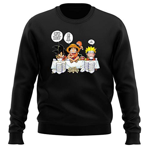 Pull Noir Parodie DBZ, One Piece et Naruto - Luffy, Naruto et Sangoku - La Recette d'un Bon Shonen Manga (Super Deformed) (Sweatshirt de qualité Premium de Taille XXL - imprimé en France)