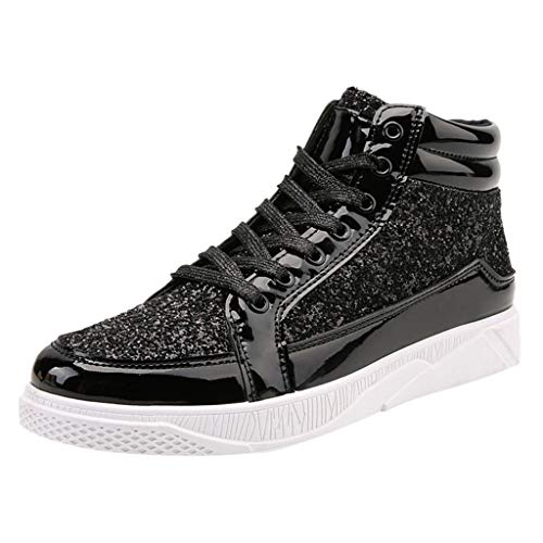 Sale!! YESWOMAN Men's Colorful Mirror Trend Sneakers Couples Nightclubs Sequins High-Top Casual Shoe...