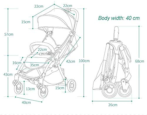 LAMTON Baby Stroller for Newborn, 4 Wheel Baby Stroller Lightweight High Landscape Travel System Foldable with Shock Absorbers from Birth, 40x100cm (Color : Green) LAMTON Adjustable handlebars for people of all heights can adjust the most comfortable push position Easy to fold, can be picked up in the trunk of the car, his parents urge him to go shopping, travel, walk, play and talk, or picnic outdoors ★ Aluminium alloy frame, sturdy, lightweight, durable, easy to store and travel 3