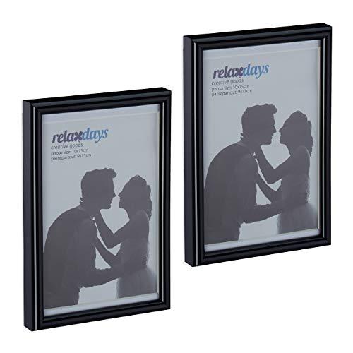Relaxdays Bilderrahmen 2er Set, 10x15 cm, Passepartout 9x13 cm, Glasscheibe, Fotorahmen zum Stellen & Hinhängen, schwarz