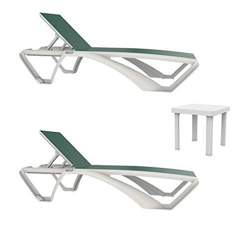 resol set de 2 tumbonas jardín exterior Marina estructura blanca, textilene verde y 1 mesa auxiliar Andorra blanca