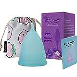 Copa Sensible Super Suave Copa Menstrual - Copas de Silicona de Grado Médico - Productos de Higiene Femenina Reutilizables Copas Sanitarias para Mujeres (S, Azul)
