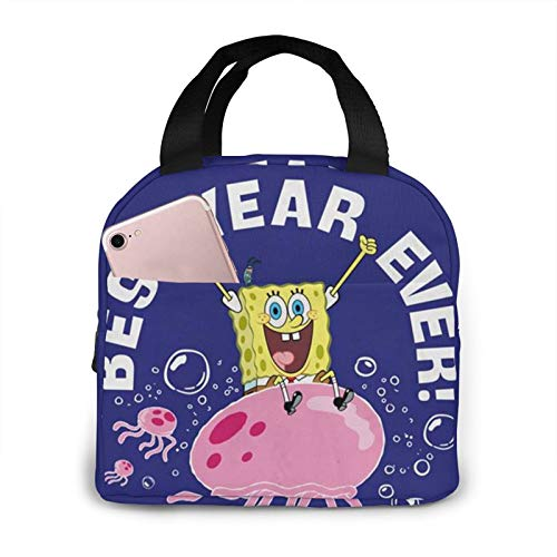 Suzzc Spongebob Best Year Reusable Insulated Lunch Bag Cooler Tote Box With Front Pocket Zipper Closure For Woman Man Work Picnic/Boating/Beach/Fishing