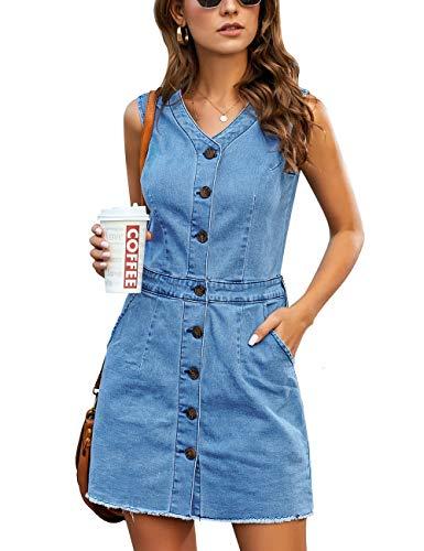 luvamia Women's Casual V Neck Sleeveless Jeans Button Down Denim Short Dress Blue Size Medium