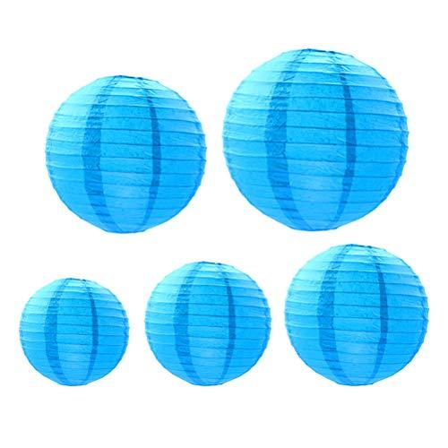 Uonlytech 18 PCS Rondes En Papier Lanterne Décoration Pliable Lanterne Suspendues Lumières Éclairage de Paysage pour Jardin Halloween Décor De Noël (Sky-blue)