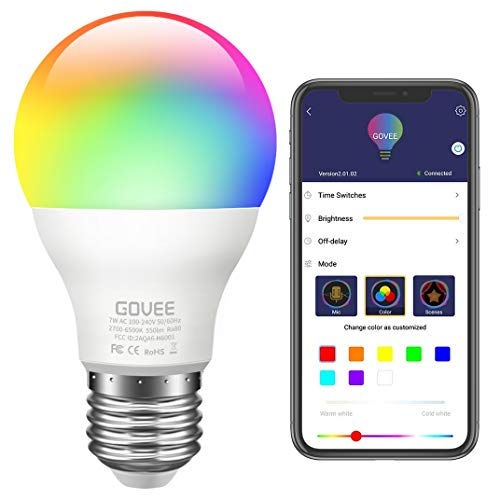 Govee LED Light Bulb Dimmable, Music Sync RGB Color Changing Light Bulbs A19 7W 60W Equivalent, Multicolor Decorative No Hub Required Smart LED Bulbs with APP for Party Home (Don't Support WiFi/Alexa)