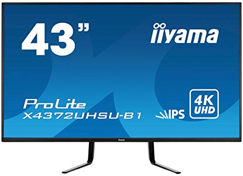 iiyama ProLite X4372UHSU 43 inch LED IPS Monitor - IPS Panel, 3840 x 2160 Resolution, 4ms Response,...