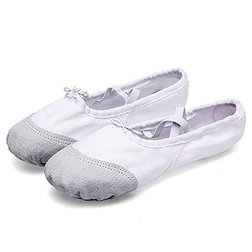 Notitieboek dansschoenen, 2 paar, vlak, yoga, zacht, ballet, Latijnse dans, sportschoenen voor kinderen en volwassenen, schoenmaat: 23 (zwart) Wit