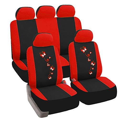 eSituro Auto Schonbezug 11-teillige Sitzbezüge für Auto mit Schmetterling universal schwarz-rot SCSC0058
