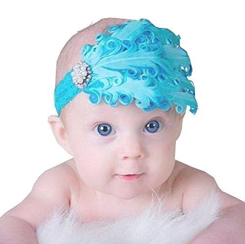 Superbe bébé fille Serre-tête mignon plumes Apparel accessoire Bleu (1 ~ 4Y)