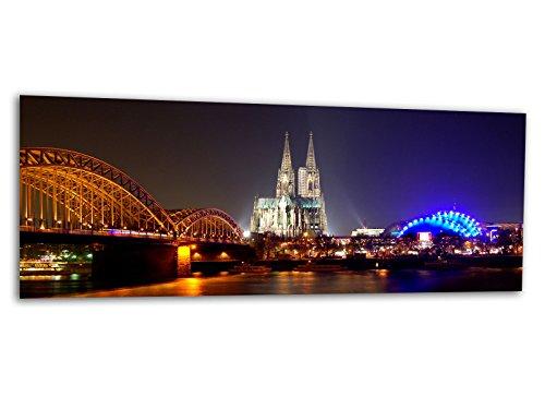 KD Dsign+ XXL Glasbild AG312500385 Mural KÖLNER Dom NACHTS 125 x 50 cm/WANDBILD Deco Glass/Handmade