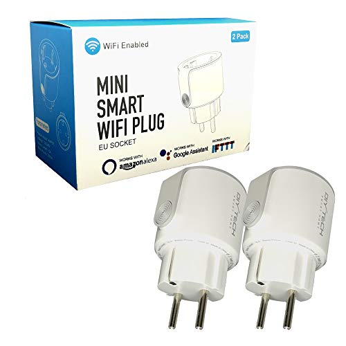 Enchufe Inteligente Wifi DIYtech Inalámbrico con Monitorización de Energía, Compatible con Alexa y Google Home, App gratuita y facil de configurar (Pack 2 unidad)