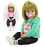 Realistic Reborn Toddlers Dolls Girls Blond Hair Look Real Soft Vinyl Toddler Dolls Silicone 24 Inches with Clothes