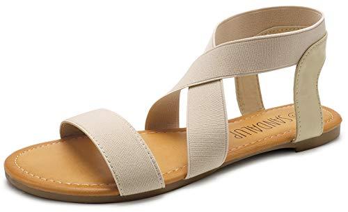 SANDALUP Elastic Ankle Strap Flat Sandals for Women Beige 07