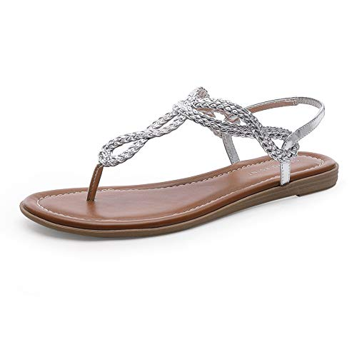CentroPoint Women's Braided T-strap Thong Slip On Flat Sandals With Elastic Brand Roman Gladiator Fashion Flip Flop Shoes(Silver PU, Numeric_7.5)