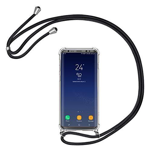 AROYI Handykette Handyhülle kompatibel mit Samsung Galaxy S8 Hülle mit Kordel zum Umhängen Necklace Hülle mit Band Schutzhülle Transparent Silikon Acryl Case Schwarz Silber