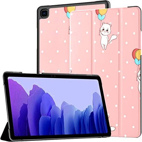 Funda de piel sintética para Samsung Galaxy Tab A7 de 10,4 pulgadas, diseño de gato rosa