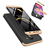 Funda Samsung Galaxy J4 Plus 360°Caja Caso + Vidrio Templado Laixin 3 in 1 Carcasa Todo Incluido Anti-Scratch Protectora de teléfono Case Cover para Samsung Galaxy J4 Plus (Oro Negro)