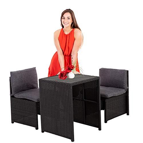 MACOShopde by MACO Möbel Balkonmöbel Set Marie Feste POLYWOOD Tischplatte, 3-teiliges Set, kompakt aus Stahl & Polyrattan, mit Polster schwarz/grau